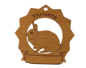 Thrianta Rabbit  Personalized Wood Ornament