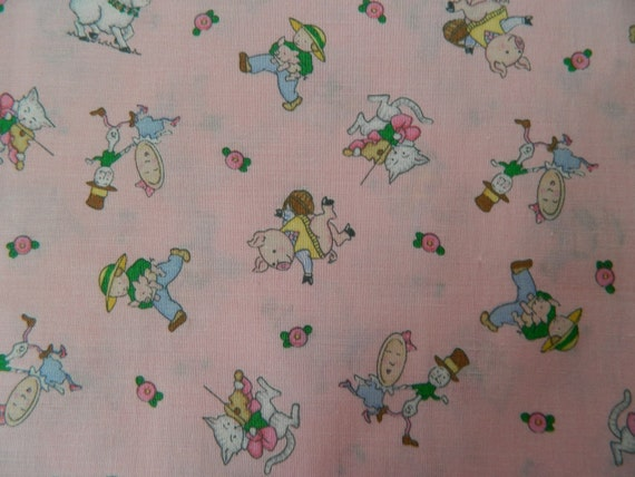 Nursery rhymes on pink fabric retro cotton print baby girl for Retro baby fabric