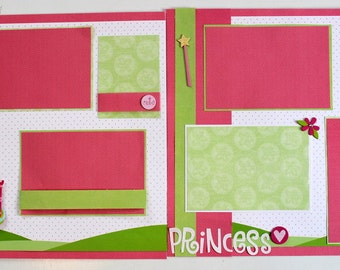 PRINCESS 12 x 12 premade scrapbook pages - Princess Girl Baby Girl