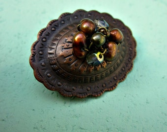 Beaded Rustic Copper Cabochon Pin Brooch with Pearl and Glass: Tribute