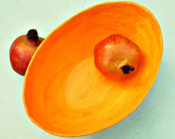 Bright Orange Yellow Fuschia Handmade Paper Mache Bowl: Soleil