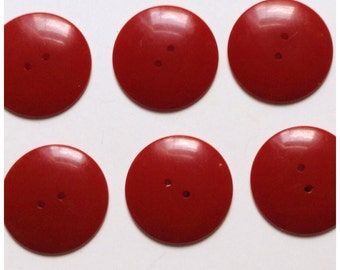 Vintage Bakelite Red Buttons (set of 6)