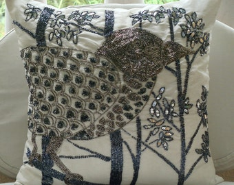 "Designer Ivory Pillows Cover, 16""x16"" Silk Pillowcase, Square  Sequins & Beaded Bird Pillow Covers - Birdy Heaven"