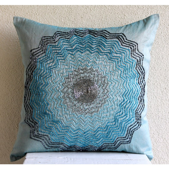 Blue Beaded Throw Pillow : Luxury Blue Decorative Pillows Cover Beaded Flower Medallion