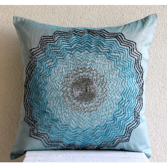 Decorative Pillows With Beads : Luxury Blue Decorative Pillows Cover Beaded Flower Medallion