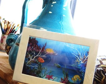 5x7 Matted Photo Print Undersea Color Explosion,starfish,coral,sea,ocean