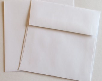 "PE73 or PE74  Qty.50 Square Flap 5"" x 5"" (12.7cm x 12.7cm) 60lb White or Vanilla Paper Envelopes"
