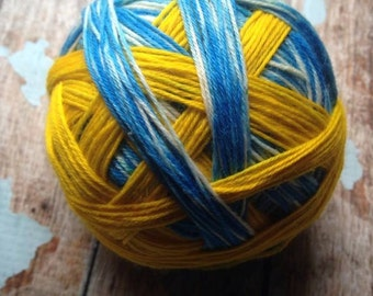 Sunny skies self striping sock yarn  dyed to order just for you