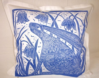 cushion cover, decorative pillow, Hare and Bluebells, flowers, sofa cushion, blue and white, blue, white, linen, linocut, hand printed,
