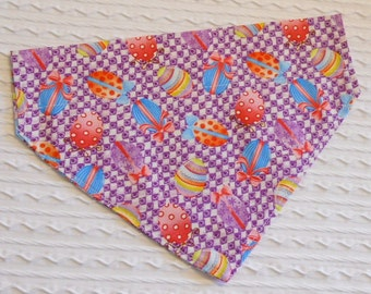 Dog Bandana with Easter Eggs Sizes XS to S in Dog Collar Style Dog Bandanna