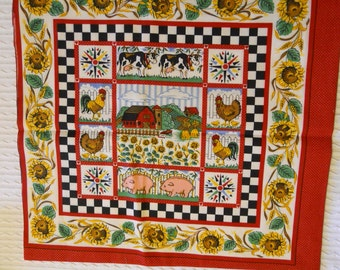 Quilting Fabric or Pillow Panels with Country Theme