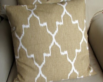 20x20 PAIR ikat Straw/ Tan and white Ikat  pillow covers  inserts included