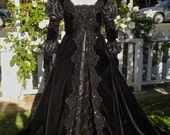 Ever After Fantasy Medieval Gothic Black Velvet and Sparkle Gown Custom