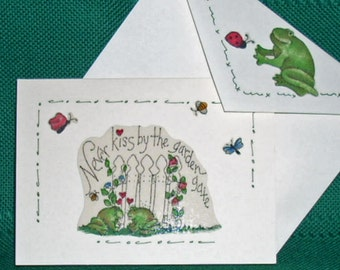 NOTECARDS---Never Kiss by the Garden Gate-Frogs in Fabric Applique
