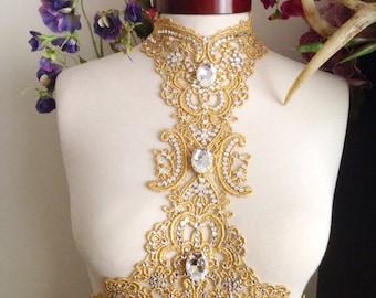 Swarovski crystal & lace choker harness - fantasy costume, formal wear, bridal