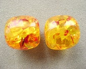 AMBER, BEADS, LARGE ,2 Pieces, Faux, Golden, Ethnic, Focal, Brilliant, Yellow, Barrel, Large Hole, Resin,Tube