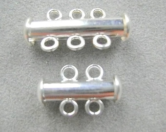 Clasp, 2 or 3 STRAND, SILVER, Gold,  Plated, Smooth Finish , Spring Loaded, Tube Clasp, 4 Sets, 72 Sets, I