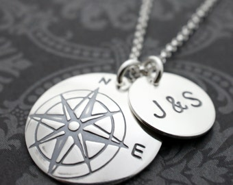 Personalized Compass Necklace - Compass Rose Pendant in Sterling Silver with Initials Charm - Custom Design by Eclectic Wendy Designs