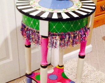 Whimsical Painted Furniture, whimsical painted Accent side table whimsical alice in wonderland