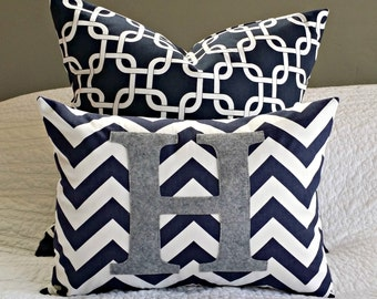 Chevron Monogrammed Pillow Cover - Navy and White Chevron with Heather Grey Monogram - Toddler Pillow - 12 x 16