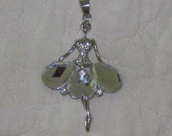 Dancer Pendant in 14K White Gold Filled With White Austrian Crystals Discontinued