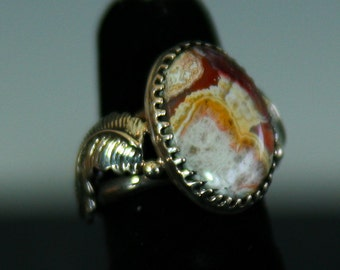Feather Agate sterling ring