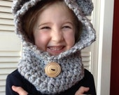 RESERVED FOR BASIA -  Super soft Crocheted Child's Hooded Cowl with Ears Custom Sizes & Colors