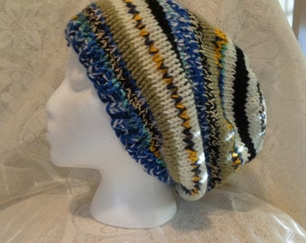 Large hand knit striped slouchy hat
