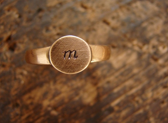 initial pinky ring, personalized gift, signet ring, rose gold stackable ring, personalized jewelry, rose gold copper color
