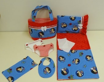 Bitty Baby Basics in Snow White- Diaper Bag and Diapers with Blanket and Pillow