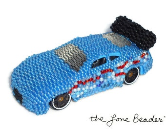 SALE Bead Machines Blue Beaded 1:64 scale diecast car - recycled toy - Gift for Him (Ready to Ship)