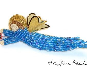 Sale: Blue beaded VENETIAN GUARDIAN ANGEL art pin/ brooch (Ready to Ship)