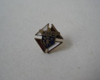 K of C Tie Tack Gold Enamel Vintage Pin