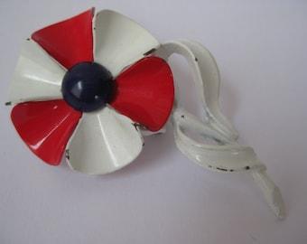 Flower Brooch Red White Blue Enamel Vintage Pin