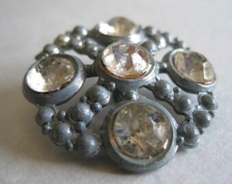 Silver Rhinestone Button Vintage Clear