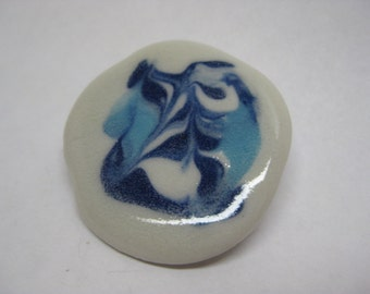 Blue White Brooch Abstract Porcelain Vintage Pin