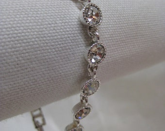 Rhinestone Bracelet Clear Silver Vintage Avon