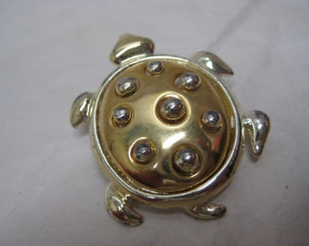 Turtle Gold Silver Brooch Vintage Pin