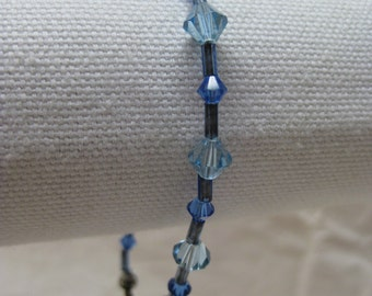 Blue Glass Bead Bracelet Silver Vintage