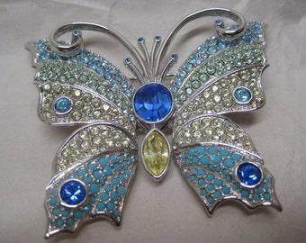 Butterfly Blue Yellow Silver Rhinestone Brooch Pin Vintage Swarovski Pastel