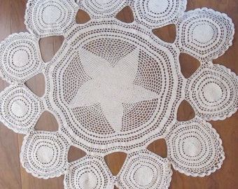 Wow...Lowered Price..Star Doily, Large Vintage Doily, Table Decor,Repurpose
