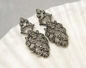 Art Deco Earrings Sterling Marcasite Vintage Wedding Bridal Jewelry E5886