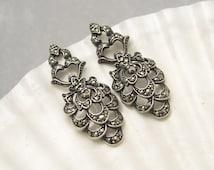 Long Art Deco Earrings Sterling Marcasite Jewelry E5886