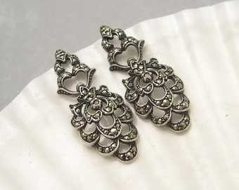 Long Art Deco Earrings Sterling Marcasite Jewelry E5886