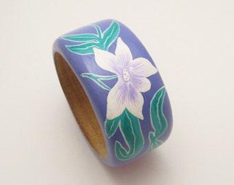 Wide Hand Painted Bangle Flower Bracelet Wood Purple Vintage Jewelry X16