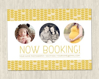 Modern Now Booking Promotional Photography Marketing Card | One-Sided 5x7 PSD | Photoshop Template | MM8011 | Instant Download