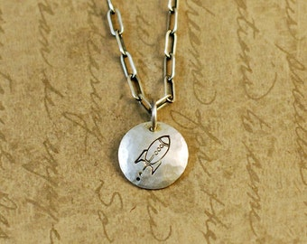 """1/2"""" Sterling Silver Hammered Handstamped Disk Round Charm with an Rocket Blasting Off"""