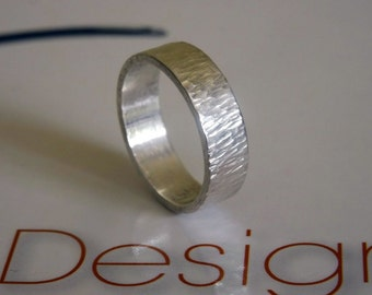 Handmade ring- patterned organic ring- His/Hers Classic ring-5mm sterling silver ring-Modern wedding, dress solid ring