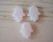 3 pcs White Opal Hamsa Hand Pendants Fatima Charms Wholesale Lot