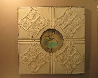 """23"""" x 23"""" Recycled Tin Ceiling, Metal Picture Frame Antique White Round 8""""  S1473-13"""